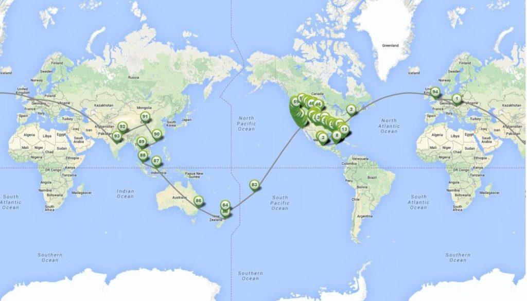 Egy éves utazásunk útvonala- The route of our year long travel